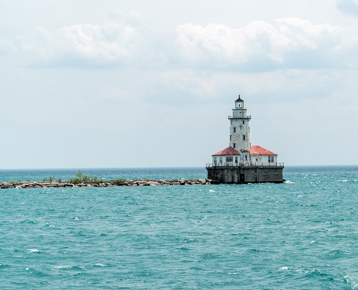 lighthouse in the bay at chicago